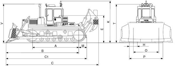 Бульдозер ДЭТ-400 габаритные размеры